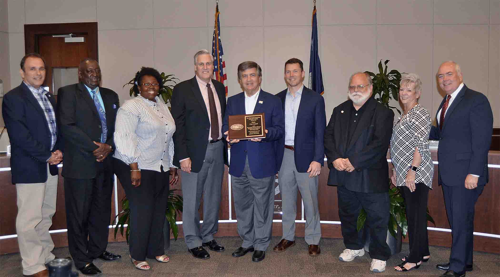 Pictured from left to right are: Jay Arrowood, Wayne Griffin, Kimberly Bookert, Mayor Rick Danner, Wayne George, Lee Dumas, Wryl