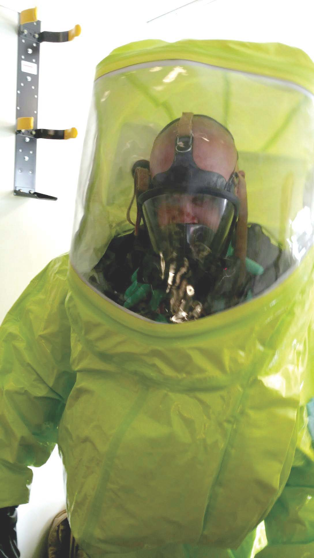 Summerville law enforcement officer using personal protective equipment to enter fentynal lab