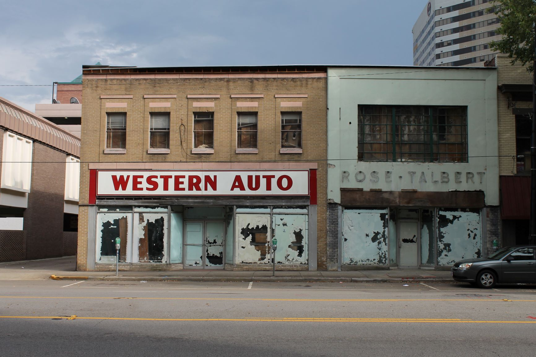 The Western Auto building (1940) and Rose-Talbert building (1914) in downtown Columbia